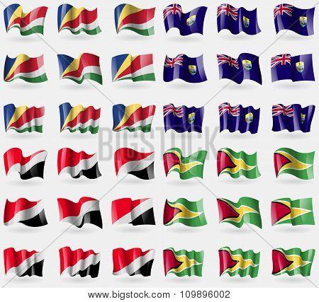 Seychelles, Saint Helena, Sealand Principality, Guyana. Set Of 36 Flags Of The Countries Of The