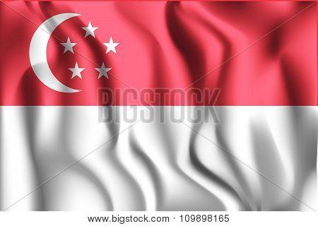 Flag Of Singapore. Rectangular Shape Icon