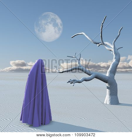 Figure covered by cloth in desert