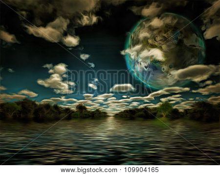 Terraformed luna or exo planet landscape