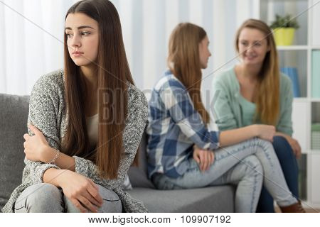 Hurt Girl Rejected By Sisters