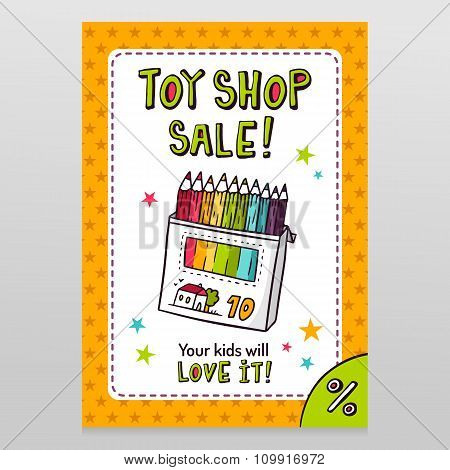 Toy Shop Vector Sale Flyer Design With Box Of Colored Pencils