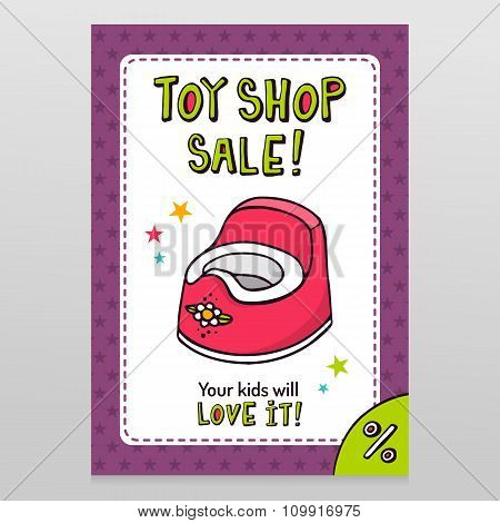 Toy Shop Vector Sale Flyer Design With Pink Baby Potty