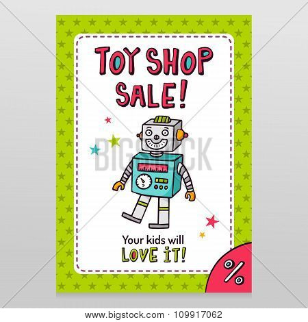 Toy Shop Vector Sale Flyer Design With Happy Vintage Toy Robot