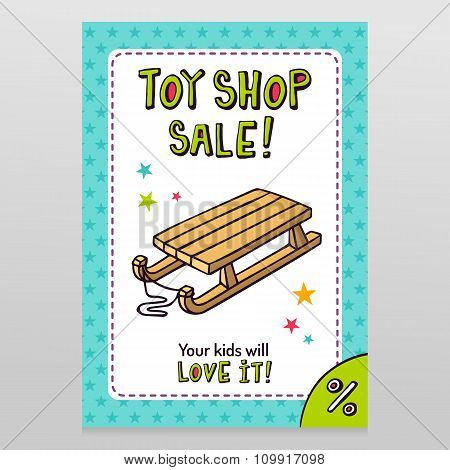 Toy Shop Vector Sale Flyer Design With Kid's Sleigh