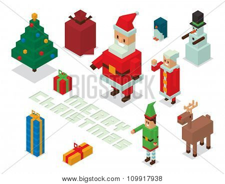 Isometric 3d Santa Claus, wife Missis Claus, elf, deer, snowman family vector. Santa Claus family Isometric 3d cartoot people. Claus family Isometric 3d infographic. Santa helpers Isometric 3d