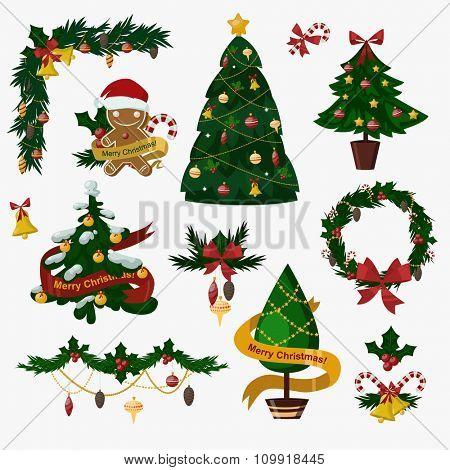 Christmas tree flat icons set. Christmas tree vector. New Year tree isolated. Christmas tree vector illustration. New Year tree silhouette. Christmas decoration, balls, tree, green tree. Set of