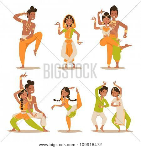 Indian women and man dancing vector isolated. Indian dancers vector silhouette. Indian cartoon dancers diferrent pose icons. Indian people dancing on white background. India, dance, show, party, movie