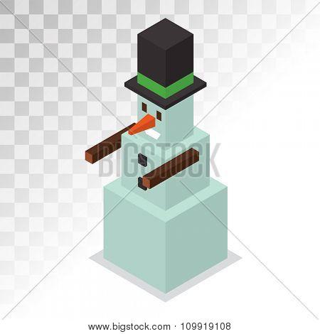 Snowman vector icon 3d isometric view vector. Snowman icon pixel art isolated. Snowman icon game style. Snowman vector design element. Snowman icon isolated on white. Snowman Santa Christmas helper