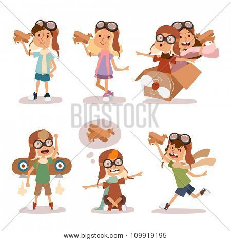 Small cartoon vector kids playing pilot aviation. Kids dreaming concept. Childhood vector kids playing games. Cartoon boys and girls playin like pilots. Plane, kids, children, play, jump, Kids dreams