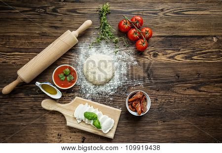 Italian pizza preparation.