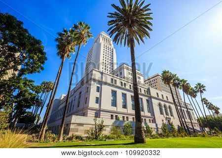 Historic Los Angeles City Hall With Blue Sky