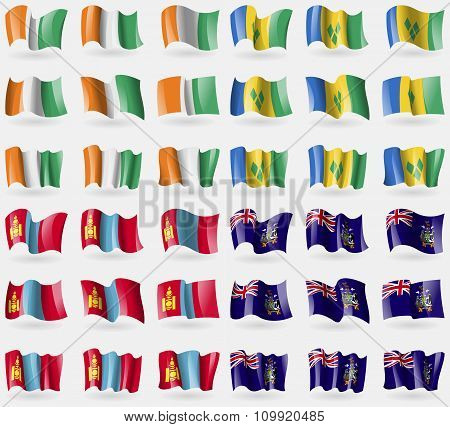 Cote Divoire, Saint Vincent And Grenadines, Mongolia, Georgia And Sandwich. Set Of 36 Flags Of The