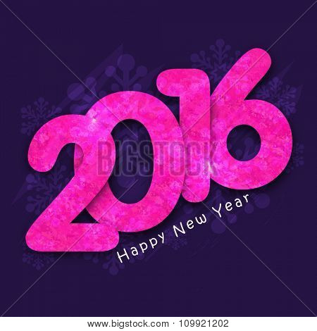 Creative pink text 2016 on snowflakes decorated background for Happy New Year celebration.