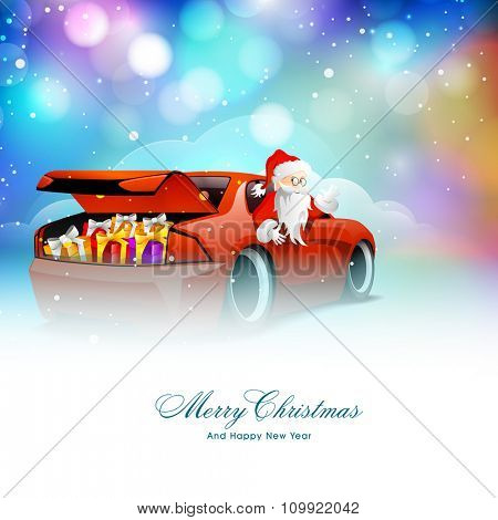 Cute Santa Claus riding a glossy red car, loaded with colorful gifts on shiny background for Merry Christmas and Happy New Year celebration.