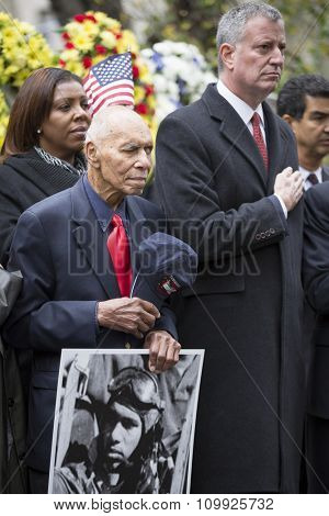NEW YORK - NOVEMBER 11 2015: Roscoe Brown, 93, squadron commander and pilot with famed Tuskegee Airmen at the Eternal Light Monument in Madison Square Park before the Americas Parade on Veterans Day.