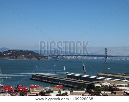 Oracle Team Usa Race Toward The Bay Bridge During The Race Of America's Cup