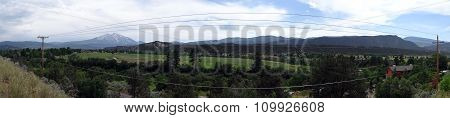 Panoramic Of Powerline Running Through The Town Of Carbondale