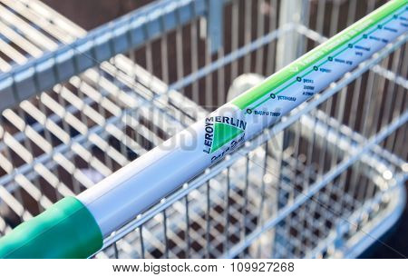 Large Empty Shopping Cart Leroy Merlin Store Close Up
