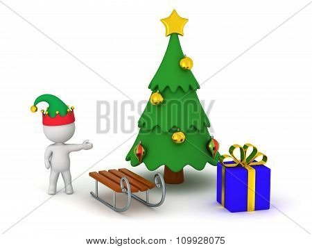 3D Character Showing Christmas Tree With Gift And Sled