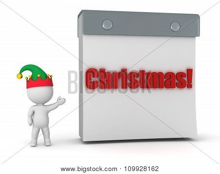 3D Character With Elf Hat Showing Tare Off Calendar With Christmas Text