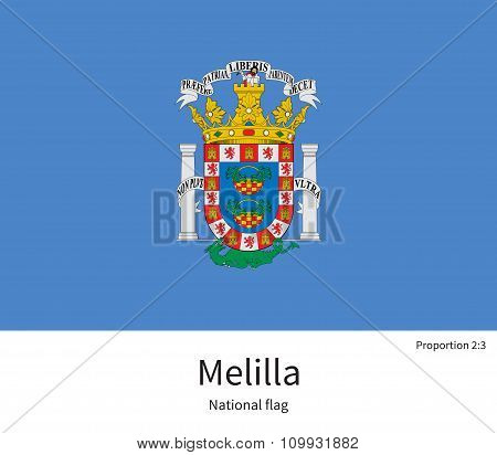 National flag of Melilla with correct proportions, element, colors for education books and official documentation poster