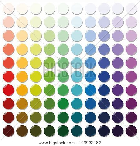 Counters - exactly one hundred round colorful plastic tokens sorted like a color swatch - from very bright to intense dark shades of all colors. Isolated vector illustration over white background. poster