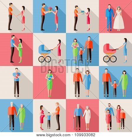Set of family icons. Flat style design. Married couples, parents with children, pregnant woman, elde