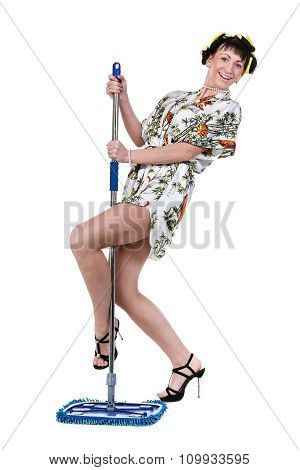homemaker with broom