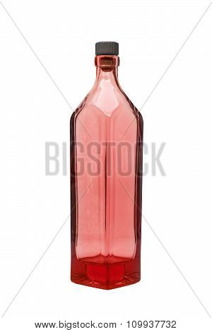 an empty red bottle on isolated background
