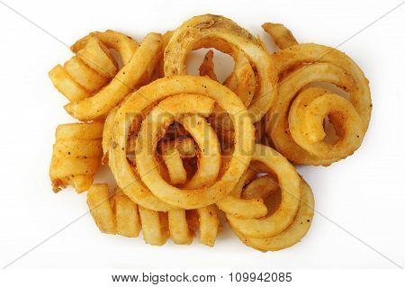 Curly Fries On White Background
