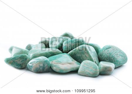 Pile of amazonites isolated on white background