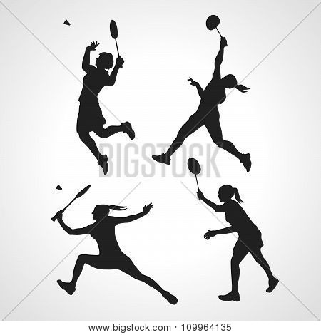 Silhouettes Of Women Professional Badminton Players. Vector Set