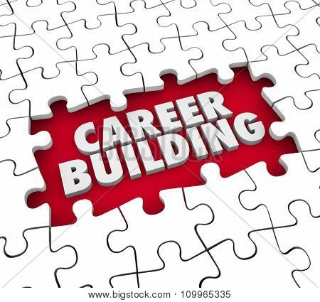 Career Building puzzle pieces starting a new job or position for experience, skills and references