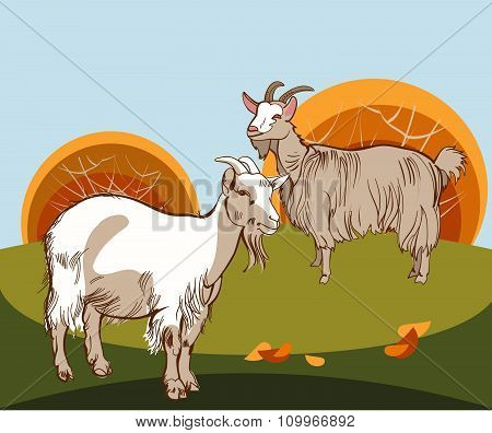 Two goats to the pasture