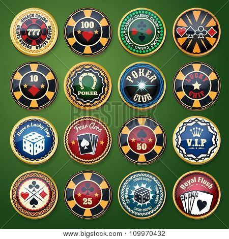 Casino and poker club color glossy vector labels set