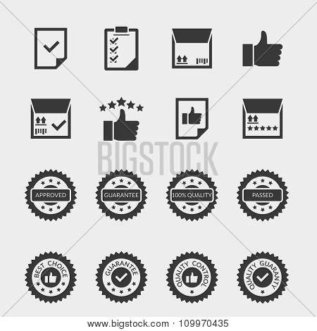 Quality control vector black icons set