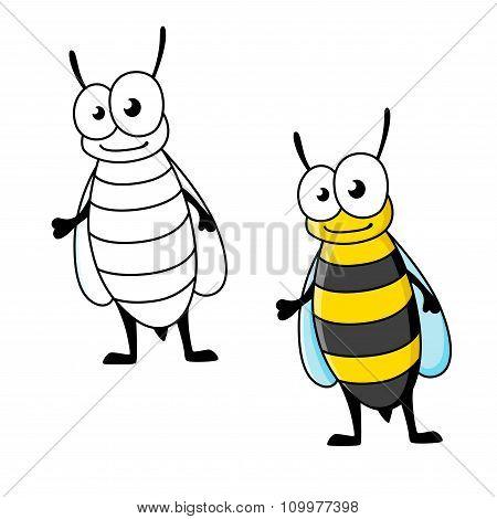 Cartoon yellow jacket wasp insect character