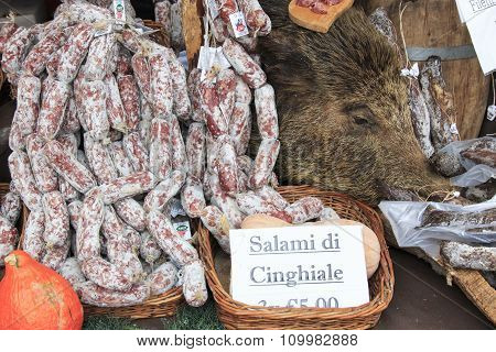 Moncalvo, Italy - October 18,2015: Closeup Of Italian Salami With Relative Price Tags At The Moncalv