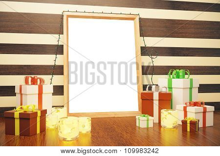 Blank Picture Frame With Gift Boxes And Candlesticks On Brown Floor, Mock Up