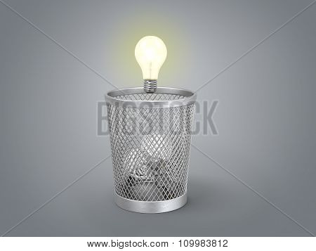 Eureka; Concept Of The Reborn Of Idea;  Glowing Light Bulb Under The Bin With Other Lamps