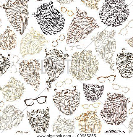 Vector Seamless Pattern Of Various Beards And Eyeglasses.
