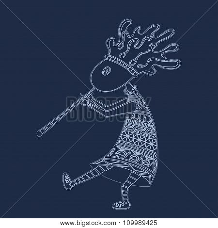 Kokopelli with flute - sketch style vector logo or icon.