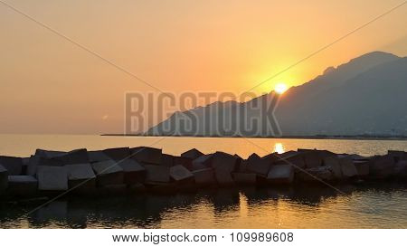 Sea landscape during a sunset where are deduced colors and special effects