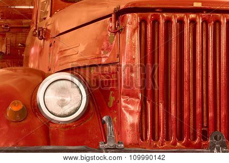 Front Of Old Red Lorry