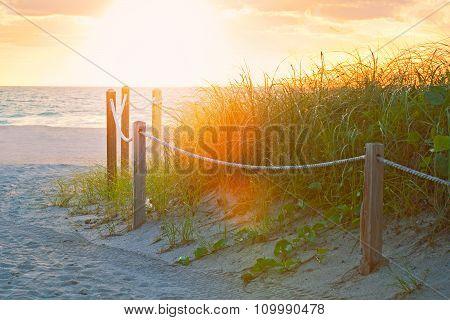 Beach path at sunrise in Miami BEach Florida