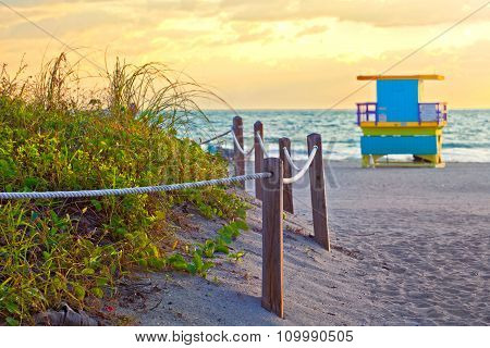 Beach path at sunrise in Miami BEach Florida