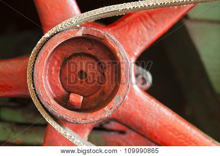 Red Flywheel With Belt