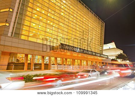 Miami Florida USA-November 17 2015: Sandford and Dollores Ziff Opera House at The Arsht Center Florida's largest performing arts center and is located on Biscayne Boulevard in the Omni neighborhood of Downtow. At night with moving traffic poster