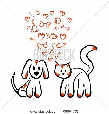cat and dog love - vector isolated hand drawn sketch